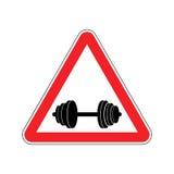Uwaga sport Szyldowy ostrzeżenie niebezpieczeństwa dumbbell Niebezpieczeństwo droga si Zdjęcie Stock