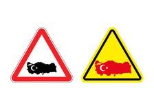 Uwaga Turcja Znak ostrzegawczy dla Tureckiego kraju royalty ilustracja
