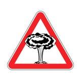 Uwaga wybuch bomby atomowej Wojna zabrania Czerwony trójbok Roa ilustracja wektor