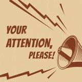 Uwaga zadawala wektorowego plakat z głosu megafonem ilustracji