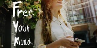Uwalnia Twój umysłu relaksu chłodu Pozytywnego pojęcie Obrazy Royalty Free