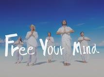 Uwalnia Twój umysłu relaksu chłodu Pozytywnego pojęcie obraz royalty free