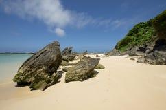 Uwarstwiony calcarenite przy laguny plaży władyki Howe wyspą fotografia stock