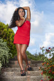 Uwodzicielska kobieta w czerwieni sukni Zdjęcia Royalty Free
