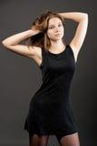 uwodzicielskich potomstwa blondynki czarny suknia zdjęcia royalty free