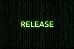 Uwolnienie, słowo kluczowe młyn, na zielonym matrycowym tle zdjęcia royalty free