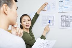 UX designer working with UI specialist royalty free stock image