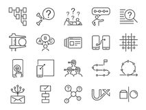 UX icon set. Included the icons as user experience, flow, prototype, agile, grid system, target, solution, procedure and more. Vector and illustration: UX icon royalty free illustration