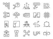 UX ikony set Zawrzeć ikony jako użytkownika doświadczenie, przepływ, pierwowzór, system, cel, rozwiązanie, procedura i więcej, ob royalty ilustracja