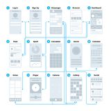 Ux ui application interface flowchart. Mobile wireframes management sitemap vector mockup. Illustration of flowchart user phone interface, sitemap and stock illustration