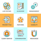 UX and usability testing line icons set Stock Photo