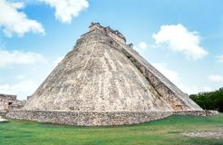 Uxmal Archeogical Site. Temple of the Magician, Uxmal, Mexico royalty free stock photography