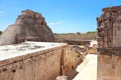 Uxmal fördärvar på den Yucatan halvön Arkivfoto