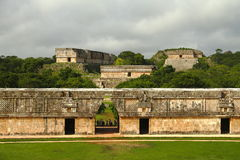 Uxmal I. View of some of the mayan archaeological site of Uxmal, located in yucatan, mexico royalty free stock photos