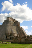Uxmal maya pyramid. Main round pyramid on mayan site over sky royalty free stock image