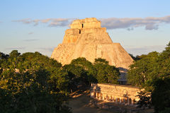 Uxmal Mayan Pyramid, Yucatan, Mexico. Late afternoon view of the mayan Pyramid of the Magician at Uxmal. Merida, Yucatan, Mexico Royalty Free Stock Photos