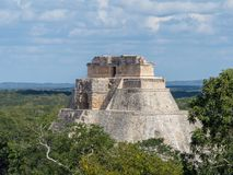 Uxmal, Merida, Mexico, America [The Great Pyramid Of Magician In Uxmal Archeological Site, Tourist Destination, Indian Aztec Mayan Stock Photo