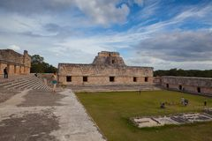 Majestic ruins Maya city in Uxmal,Mexico. Uxmal, Mexico - January 30, 2018: Majestic ruins in Uxmal,Mexico. Uxmal is an ancient Maya city of the classical stock photo