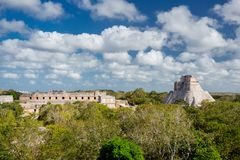 Uxmal, Mexico. Pyramid of the Magician.  Stock Images