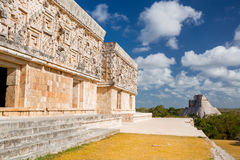 Uxmal, Mexico. Pyramid of the Magician. Uxmal, Mexico. Pyramid of the Magician and Governor Palace Stock Images
