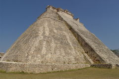 Uxmal Pyramid. This round-cornered pyramid at Uxmal, Mexico, is the only one of its type in the Maya world Royalty Free Stock Images