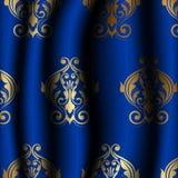 Uxury blåttmaterial med den guld- modellen royaltyfri illustrationer