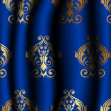 Uxury blue material with gold pattern Royalty Free Stock Photography