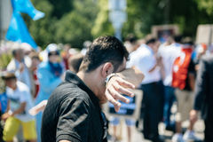 Uyghur人权活动家抗议 免版税库存照片