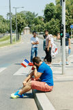 Uyghur人权活动家抗议 免版税图库摄影