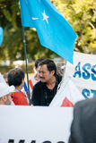 Uyghur human rights activists protest Stock Images