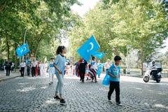 Uyghur-Menschenrechtlerprotest Lizenzfreie Stockfotos