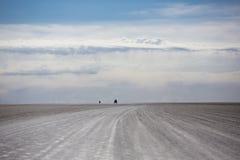 Uyuni撒拉族的全景与4x4汽车剪影,伯力的 免版税库存照片