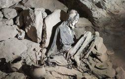 Uyuni Bolivia, 2017: Coquesa pre-Incan cemetery by the salt flat Salar de Uyuni, with its mummies and offerings, necropolis - Bo Royalty Free Stock Image