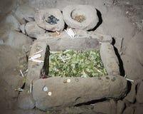 Uyuni Bolivia, 2017: Coquesa pre-Incan cemetery by the salt flat Salar de Uyuni, with its mummies and offerings, necropolis - Bo. Livia, South America Stock Image