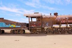 Uyuni, Bolivia. Rusty old steam locomotive stock image