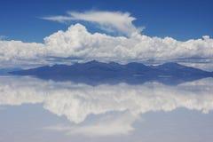 Uyuni desert. Mirroring in Uyuni desert, Bolivia stock photography