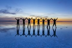 Free Uyuni Reflections Are One Of The Most Amazing Things That A Photographer Can See. Here We Can See How The Sunrise Over An Infinite Royalty Free Stock Photography - 121822807