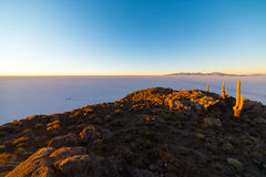 Uyuni Salt Flat on the Bolivian Andes at sunrise Royalty Free Stock Photos