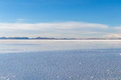Uyuni Salt Flats in Bolivia, the incredible mirror-like lake in South America royalty free stock images