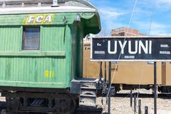 Uyuni train station old carriage. amazing salt plains in the Andean mountains. Bolivia stock images