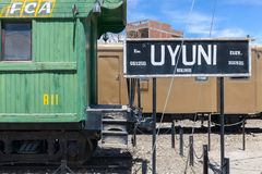 Uyuni train station old carriage. amazing salt plains in the Andean mountains. Bolivia stock image