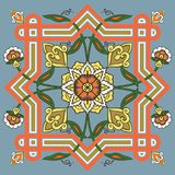 Uzbeck style abstract ornament. Kaleidoscopic symmetry in abstract florid designs typical of Uzbekistan and Afghanistan, with Iranian and Islamic influences Stock Photos