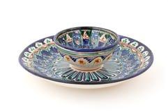 uzbek чая плиты пустыни чашки Стоковое Изображение