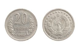 Uzbek coin on white background. Photo of an abstract texture Stock Photo