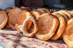 Uzbek flatbread with sesame seeds from the tandyr Stock Image