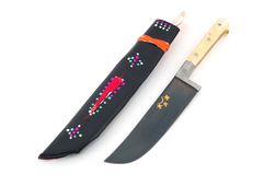 Uzbek Knife with Sheath. Traditional handcrafted Uzbek knife with bone handle and leather sheath Royalty Free Stock Images