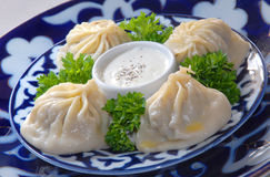 Uzbek manty with meat Royalty Free Stock Images