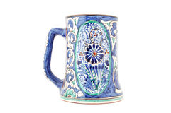 Uzbek Mug. Isolated photo of blue Central Asian (Uzbek) mug with traditional Rishtan style pattern Stock Image