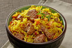 Uzbek national dish plov Stock Image