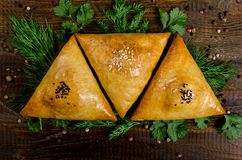 Uzbek national dish of samsa with herbs on a dark wooden background. Horizontal frame Stock Photo